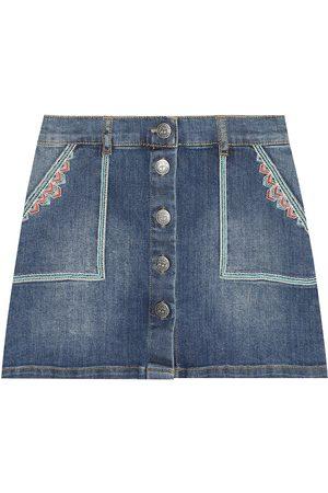 BONPOINT Girls Denim Skirts - Exie embroidered denim skirt