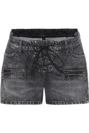 UNRAVEL Women Shorts - Denim lace-up shorts