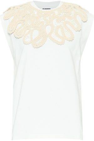 Jil Sander Women T-shirts - Embroidered cotton T-shirt