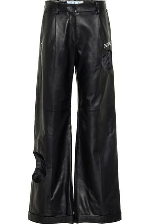 OFF-WHITE Women Leather Pants - Cut-out wide-leg leather pants