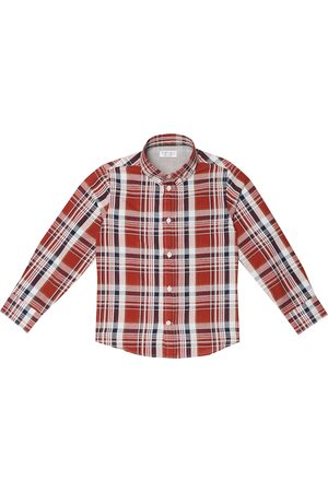 Brunello Cucinelli Boys Shirts - Checked cotton and linen shirt