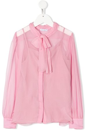 Dolce & Gabbana Girls Blouses - Sheer pussy-bow blouse