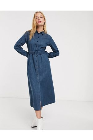 & OTHER STORIES & denim button through belted shirt dress in