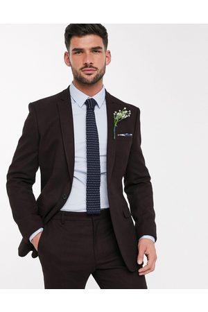 ASOS Suits - Wedding skinny suit jacket in wool look in burgundy