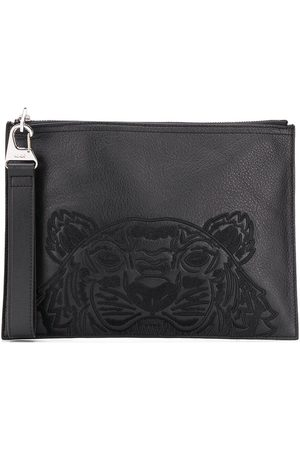 Kenzo Tiger embroidered leather clutch