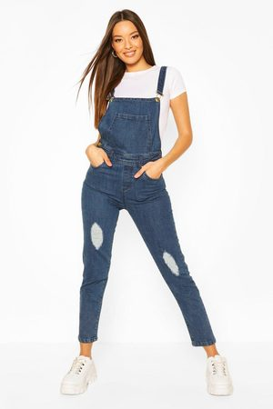 Boohoo Womens Slim Fit Distressed Denim Overall - - 2