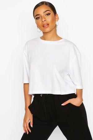 Boohoo Womens Petite Cropped Cotton T-Shirt - - 2