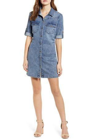 WASH LAB Women's Jean Style Short Sleeve Shirtdress
