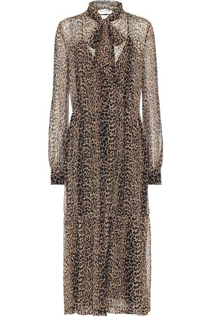 Saint Laurent Leopard-print silk midi dress