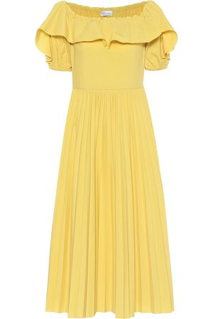 RED Valentino Off-shoulder cotton-blend midi dress
