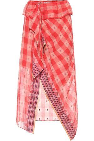 ULLA JOHNSON Merida checked cotton midi skirt