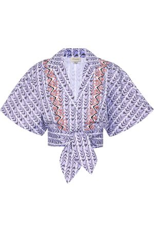 TEMPERLEY LONDON Poet printed cotton cropped shirt