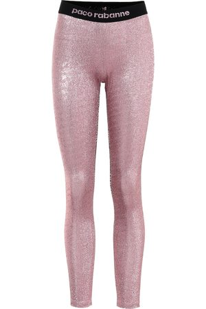 Paco rabanne Metallic stretch-jersey leggings