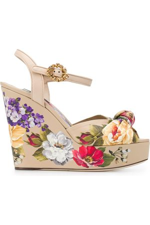 Dolce & Gabbana Floral wedge sandals - Neutrals