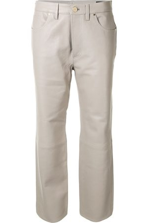 Goldsign Women Leather Pants - Leather cropped trousers - Grey