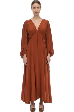 The Row Women Maxi Dresses - V Neck Compact Crepe Maxi Dress