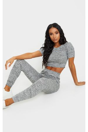 PRETTYLITTLETHING Grey Knitted Tee And Jogger Set