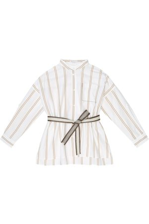 Brunello Cucinelli Striped cotton belted shirt