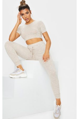 PRETTYLITTLETHING Oatmeal Knitted Tee And Jogger Set