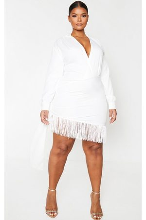 PRETTYLITTLETHING Plus Long Sleeve Tassel Hem Drape Detail Bodycon Dress