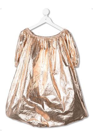 Le pandorine Wrinkled-effect metallized dress
