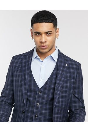 River Island Slim fit suit jacket in navy check