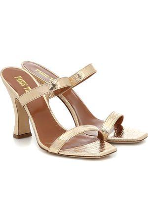 PARIS TEXAS Croc-effect metallic leather sandals