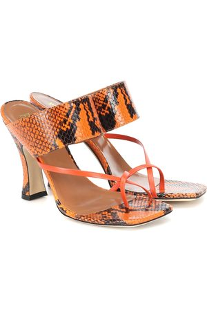 PARIS TEXAS Snake-effect-leather sandals
