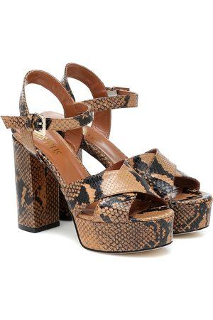 PARIS TEXAS Snake-effect leather sandals