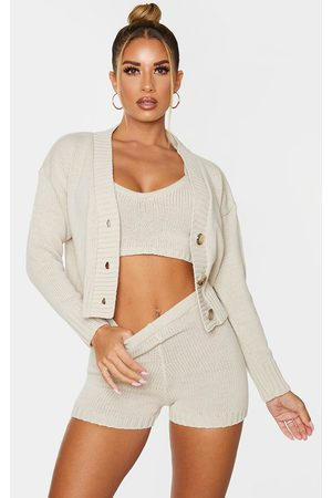 PRETTYLITTLETHING Cream Knitted Button Crop Cardigan
