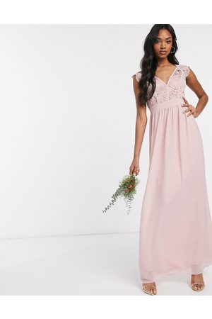 TFNC Women Maxi Dresses - Bridesmaid lace plunge maxi dress with scaloped back in