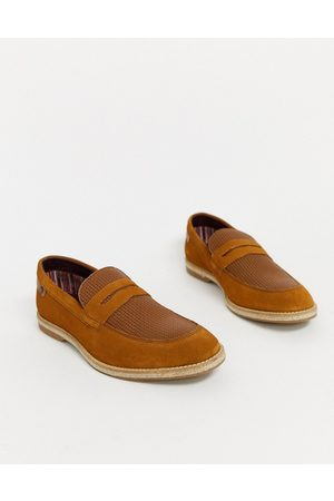Base London Men Loafers - Combie embossed loafers in tan suede