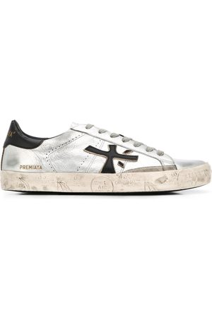 Premiata Steven low-top distressed-effect sneakers