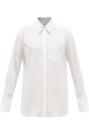 Another Tomorrow Oversized Chest-pocket Organic Cotton-poplin Shirt - Womens