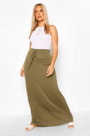 Boohoo Womens Plus Basic Tie Front Maxi Skirt - - 12