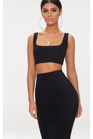 PRETTYLITTLETHING Slinky Square Neck Sleeveless Crop Top