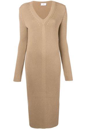 Ami Women Dresses - Long Dress V Collar - Neutrals