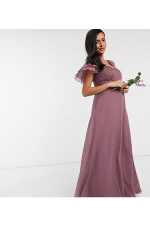 ASOS ASOS DESIGN Maternity Bridesmaid short sleeve ruched maxi dress in Dusty Mauve