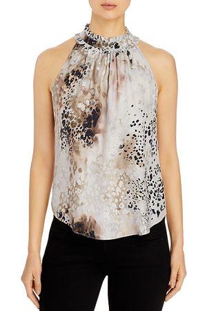 Go By Go Silk Ruffle-Neck Printed Sleeveless Silk Top