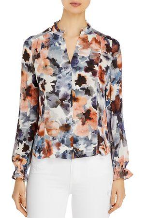 Go By Go Silk Ruffle-Neck Floral-Print Silk Blouse