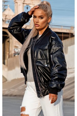 PRETTYLITTLETHING Women Leather Jackets - Faux Leather Oversized Bomber