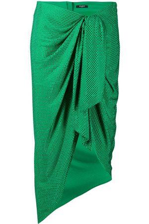 Balmain Polka-dot ruched midi skirt