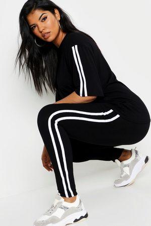 Boohoo Womens Plus Stripe Short Sleeve Lounge Set - - 12