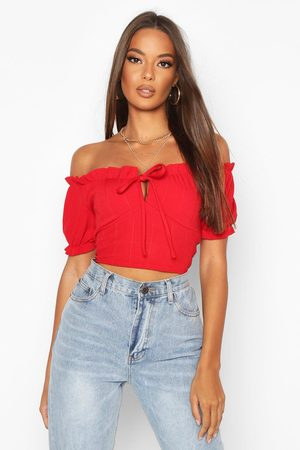 Boohoo Womens Bandage Peasant Crop Top - - 2