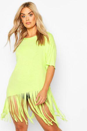 Boohoo Womens Plus Tassel Beach Dress - - 12