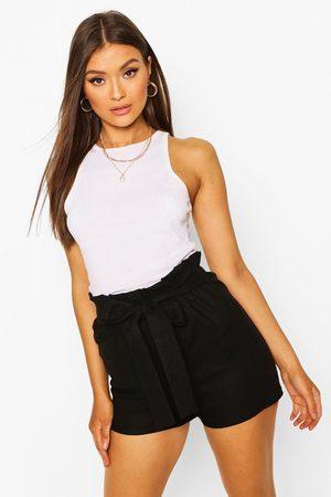 Boohoo Womens Linen Look Paperbag Shorts - - 4