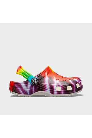 Crocs Little Kids' Classic Tie-Dye Graphic Clog Shoes in Size 2.0