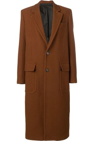 Ami Patched Pockets Two Buttons Long Lined Coat
