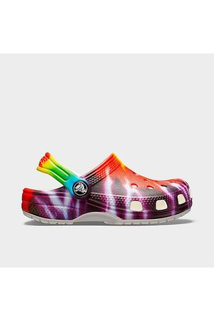 Crocs Big Kids' Classic Tie-Dye Graphic Clogs in Size 4.0