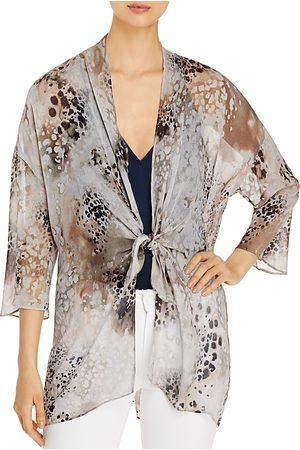 Go By Go Silk Tie-Front Printed Silk Kimono